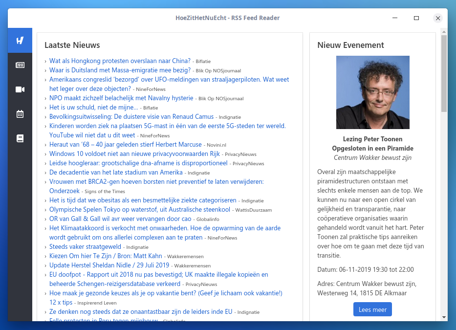 HoeZitHetNuEcht RSS feed Reader - Homepage